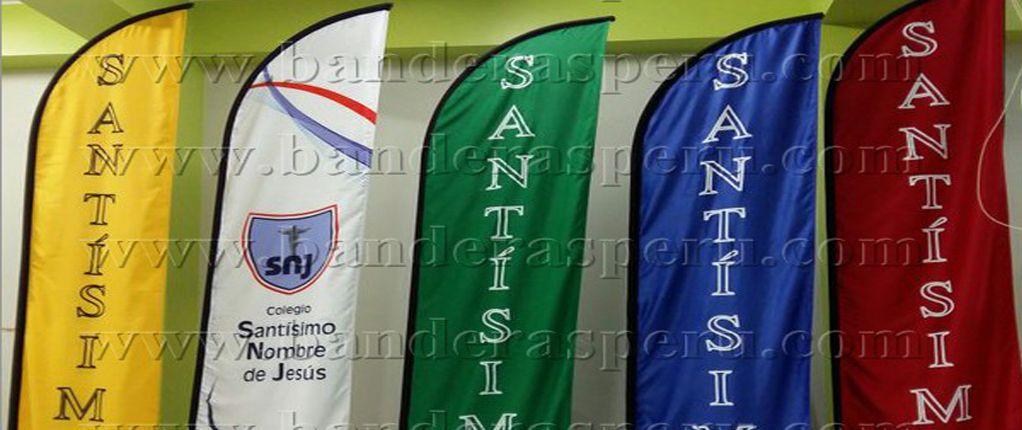 Bandera tipo vela Colegio Santísimo Nombre de Jesús – Lima, Perú